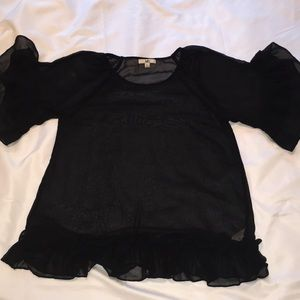 Sheer black silk blend blouse, size L.